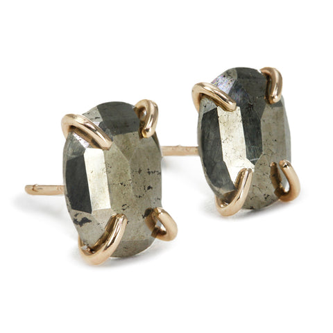 Gold and Asymmetrical Pyrite Post Earrings