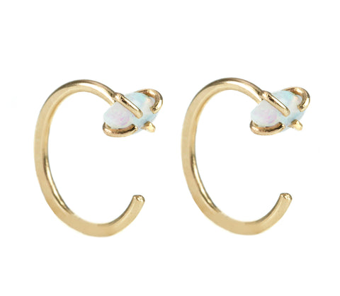 "Gold ""Hug"" Earrings with White Opals"