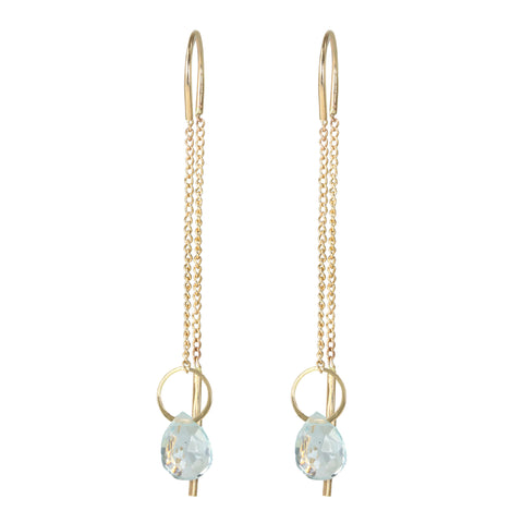 "Melissa Joy Manning Gold ""Pull Through"" Earrings with Aquamarine Drop"