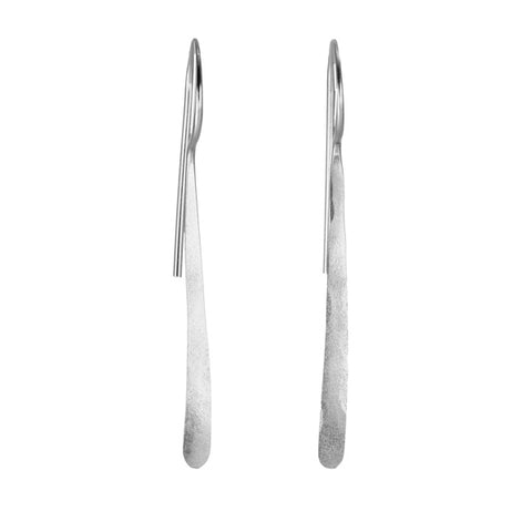 "Sterling Silver ""Feather Hoop"" Stick Earrings"