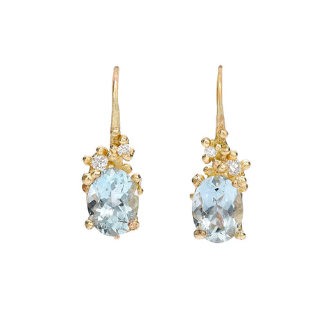 Ruth Tomlinson Gold and Oval Aquamarine Drop Earrings with Diamonds