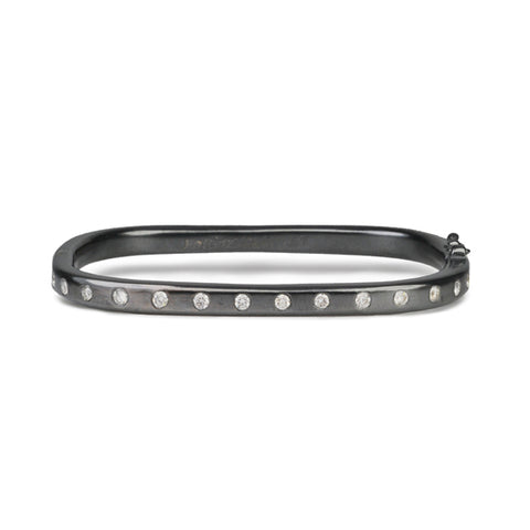 Blackened Sterling Silver and Diamond Rectangular Hinge Bangle