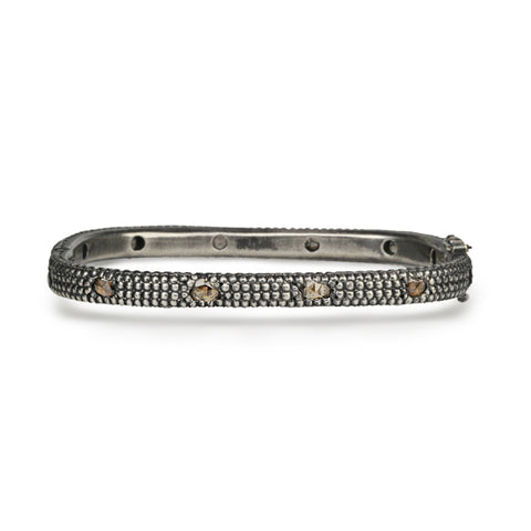 Blackened Sterling Silver and Champagne Diamond Rectangular Hinged Bangle