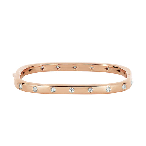 18K Rose Gold and Diamond Rectangular Hinged Bangle
