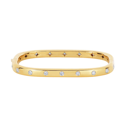 Gold and Diamond Rectangular Hinged Bangle
