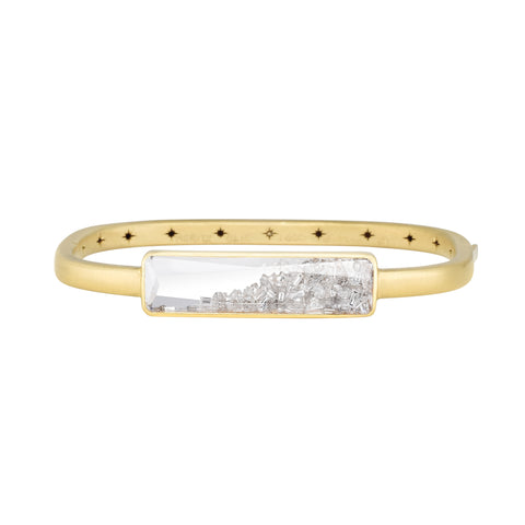 "Gold Hinged Bangle with Rectangular Diamond ""Shake"""
