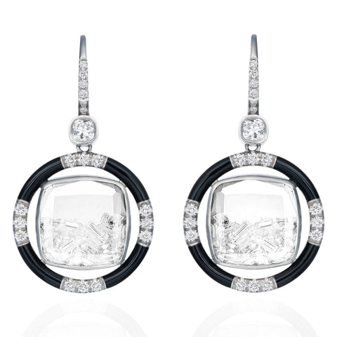 "White Gold Palladium Diamond ""Shake"" Earrings with Black Enamel"