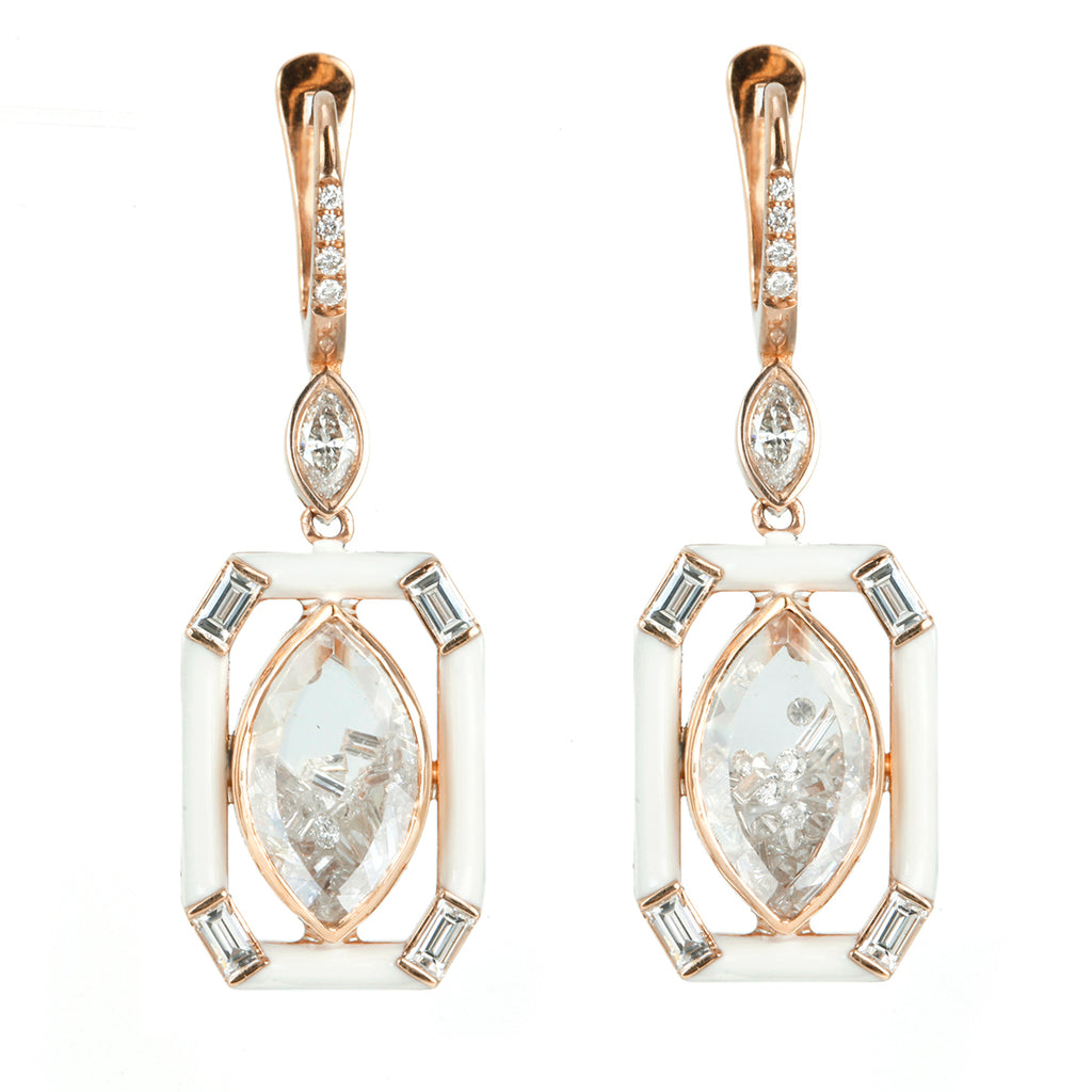 "Rose Gold Marquise-Shaped Diamond ""Shake"" Earrings with White Enamel"