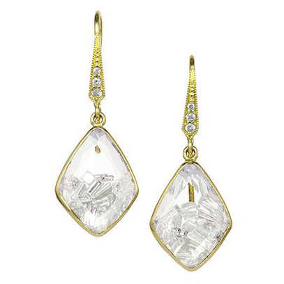 "Gold and Diamond Small Four-Sided ""Shake"" Earrings"