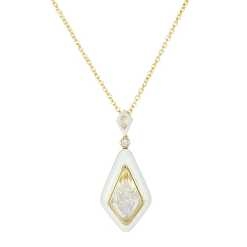 "White Enamel Diamond-Shaped ""Shake"" Pendant with Loose Full-Cut Diamonds"