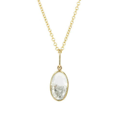 Gold Oval Diamond Shaker Necklace Encased in White Sapphires