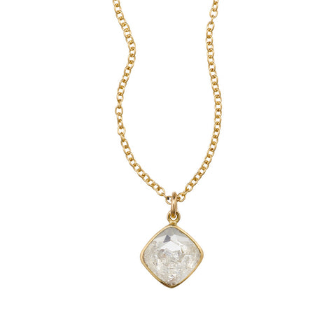 "18K Yellow Gold Square Diamond-Shaped ""Shake"" Necklace"