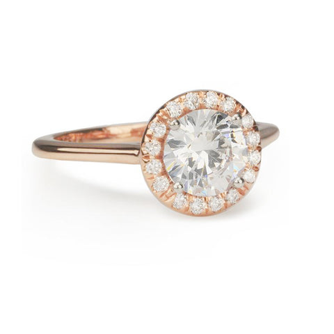 Rose Gold Mount with Round Diamond Halo
