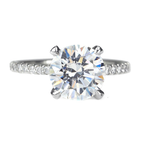 Platinum Round Diamond Ring Mount with Pave Diamond Shoulders and Prongs