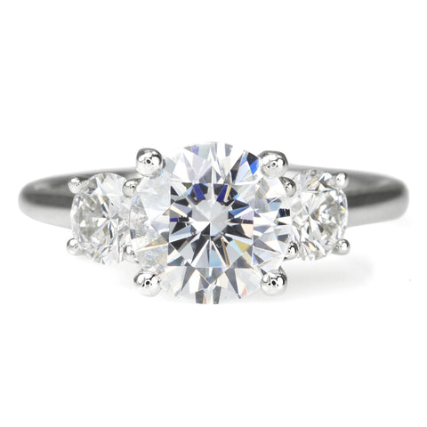 Platinum Prong-Set Three Stone Engagement Ring