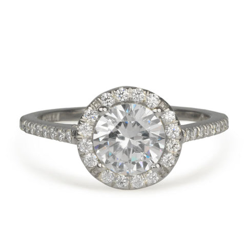 Platinum Ring with Prong-Set Center Stone with Pave Diamond Halo and Shoulders