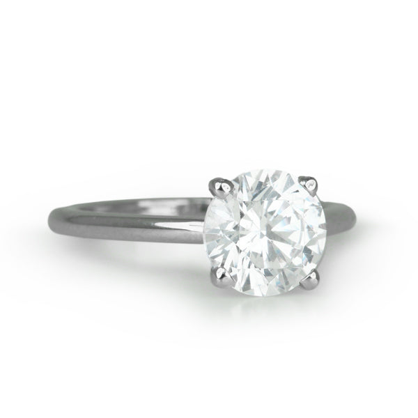 Platinum Ring with Prong-Set Round Center Stone