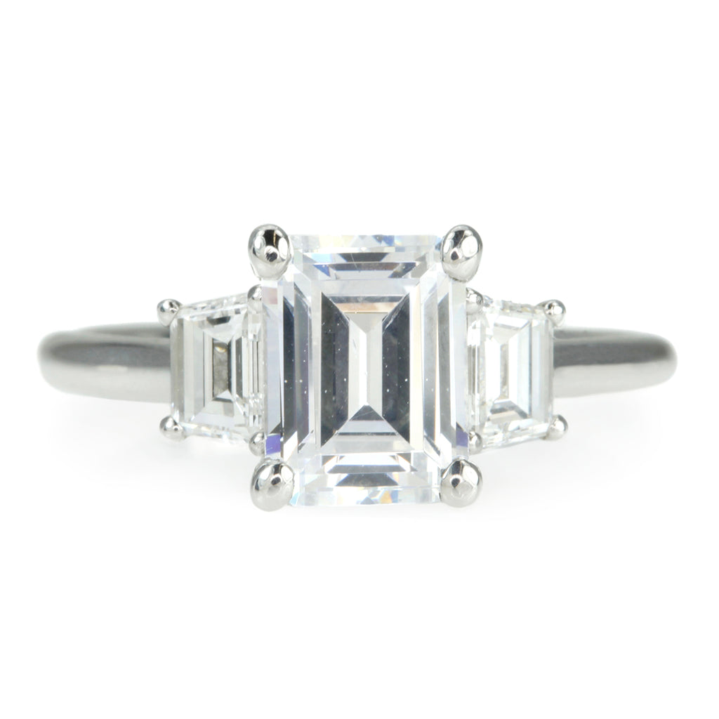 Platinum Emerald Cut Engagement Ring Mount with Two Trapezoid Diamonds