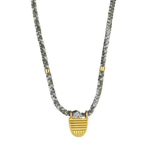"Gold Vermeil ""Buddhist Flag"" Necklace on Moon Cotton Cord"