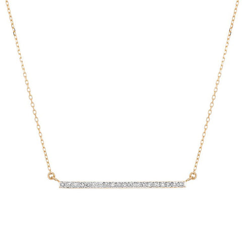 Adina Reyter Yellow Gold and Pave Diamond Large Bar Necklace