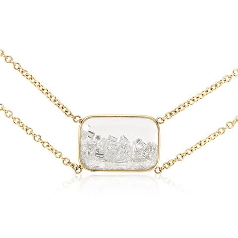 "Moritz Glik Gold Double Chain Necklace with Rectangular Diamond ""Shake"""