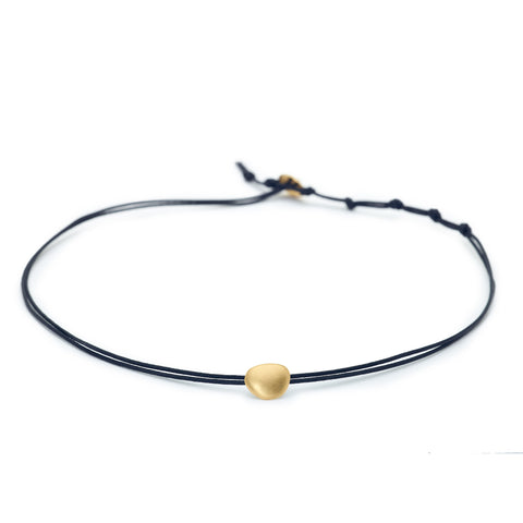 "Waxed Linen Choker with Gold ""Petal"""