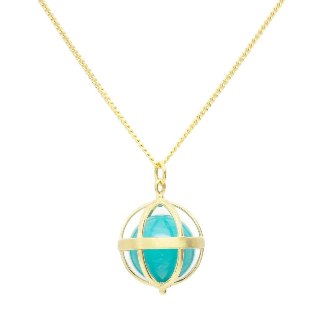 "Gold ""Cage"" Pendant with Amazonite Ball"