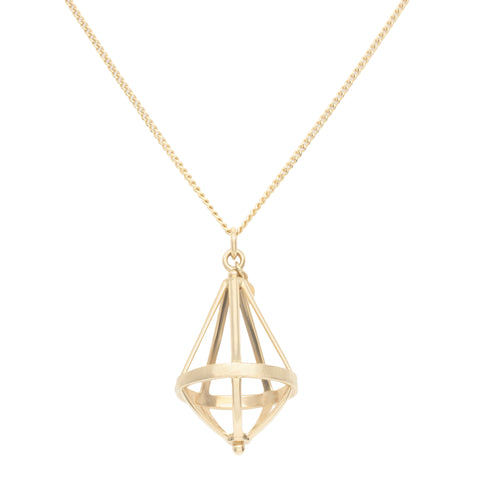 "Anne Sportun Gold Pentagonal Open ""Cage"" Necklace"