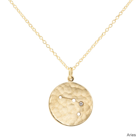 "Gold ""Zodiac - Aries"" Hammered Disc Drop Necklace with Single Diamond"