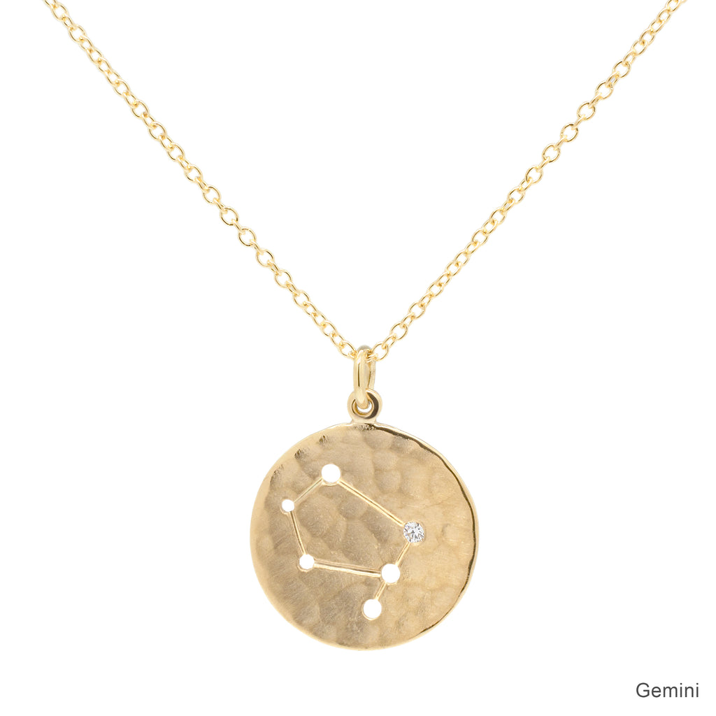 "Gold ""Zodiac - Gemini"" Hammered Disc Drop Necklace with Single Diamond"
