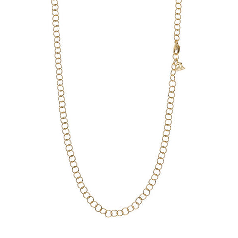 18 Karat Yellow Gold Small Round Gold Chain Necklace.