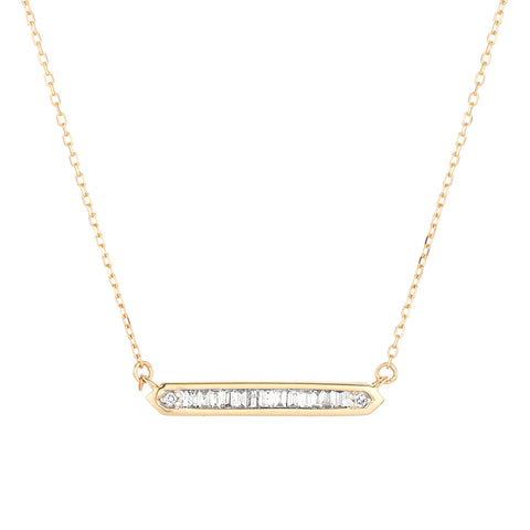 Adina Reyter Gold and Baguette Diamond Bar Necklace
