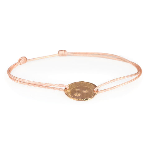 "Tiny Om Rose Gold ""Starry Moon"" Bracelet on Pink Cord"