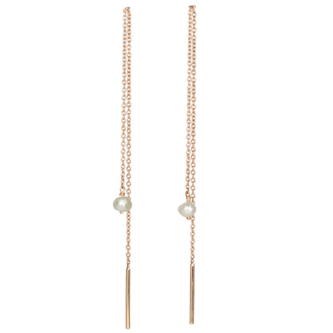 "Rose Gold Long ""Threader"" Earrings with Freshwater Pearls"