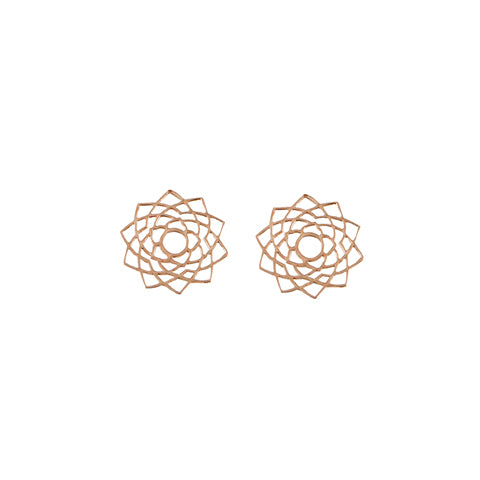 Tiny Om Unity/Sahasrara Post Earrings in Rose Gold
