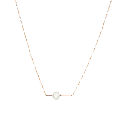 Tiny Om Rose Gold Bar Necklace with Freshwater Pearl