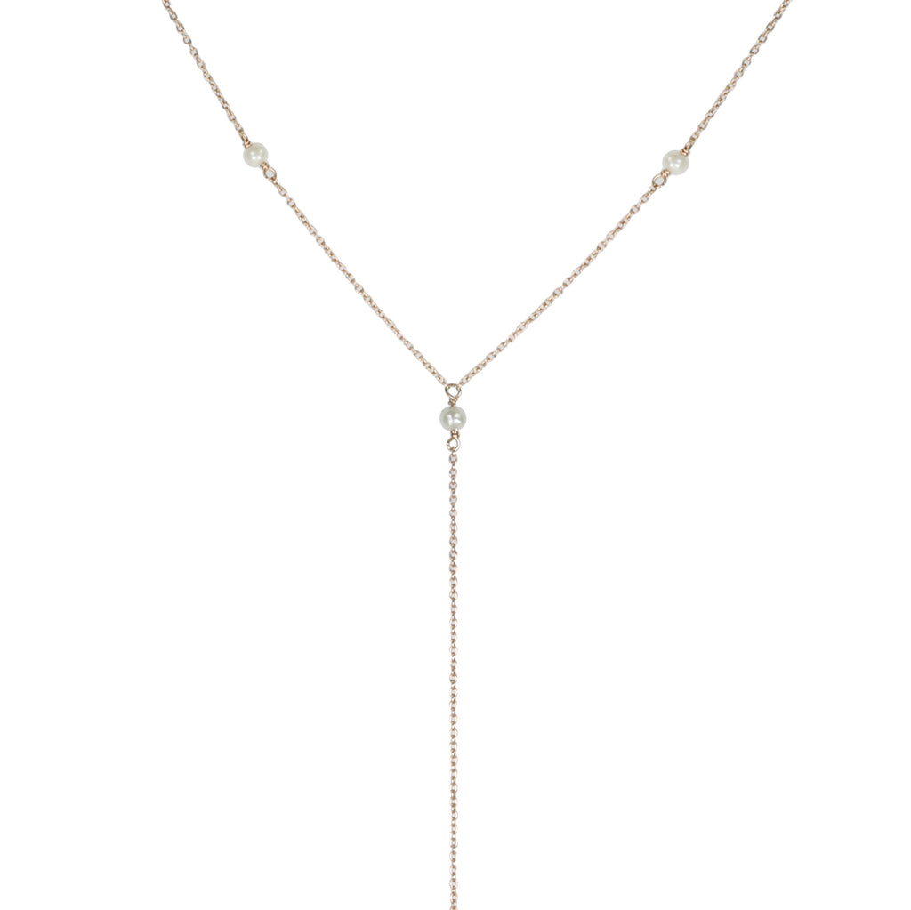 Tiny Om Rose Gold and Freshwater Pearl Station Lariat Necklace