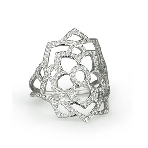 "White Gold ""Sahasrara"" Chakra Ring With Diamonds"