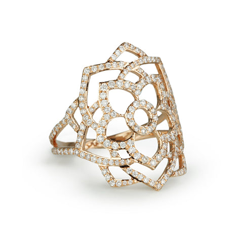 "Rose Gold ""Sahasrara"" Chakra Ring with Diamonds"
