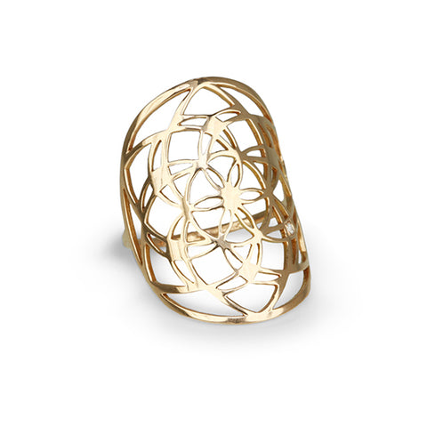 "Tiny Om Gold ""Flower of Life"" Ring with Diamond"
