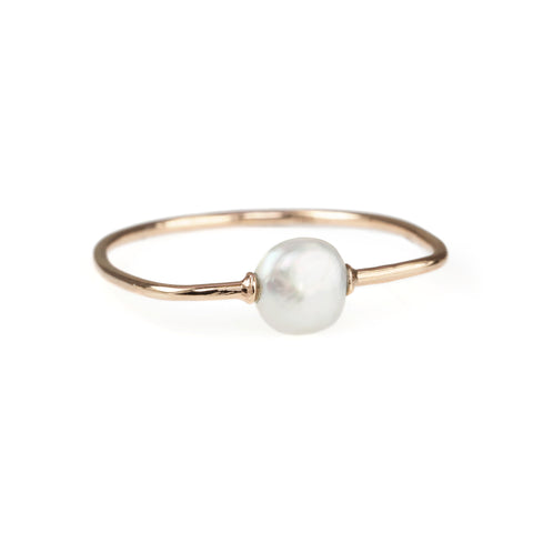Tiny Om Rose Gold Bar Ring with Freshwater Pearl
