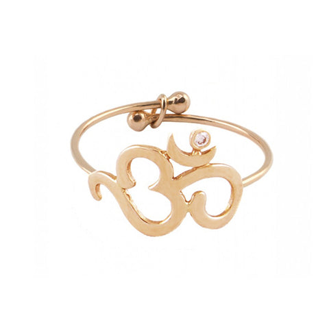 "Rose Gold Small ""Om"" Ring with White Diamond"