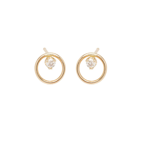 "Gold ""Open Circle"" Earrings with Diamonds"