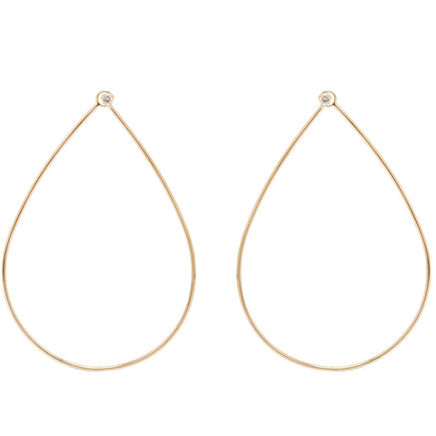 Gold and Diamond Large Front-Facing Teardrop Earrings