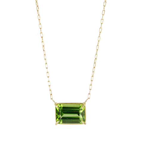 Peridot Emerald Cut Necklace