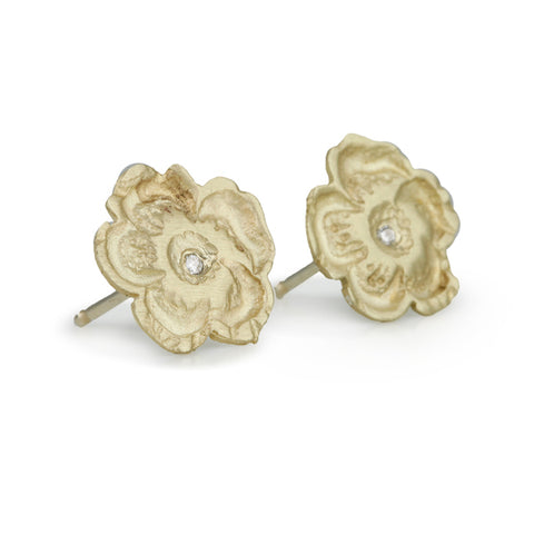 "Gold and Diamond ""Sweet Pea"" Post Earrings"