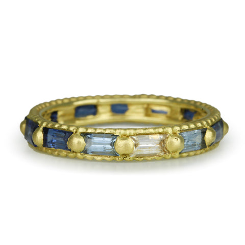 "Gold and Ombre Blue Sapphire Baguette ""Arcade"" Ring"
