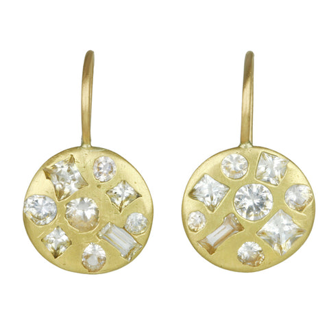"Gold and White Sapphire Extra Large ""Crystal Disc"" Hook earrings"