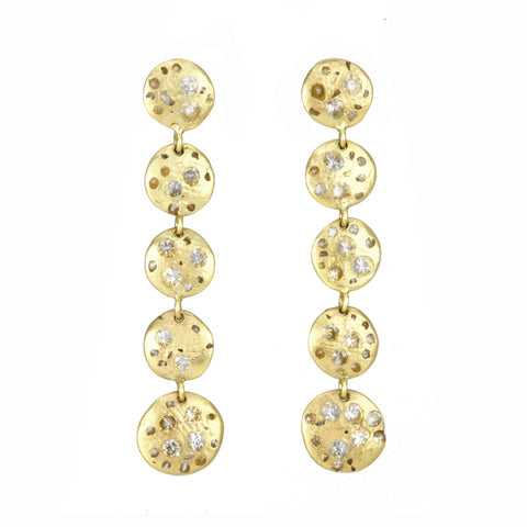 "Gold and White Sapphire 5 Disc ""Celeste"" Drop Earrings"