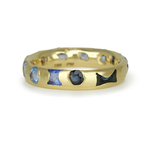 "Gold and Ombre Blue Sapphire ""Crystal"" Ring"